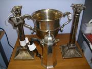 2 handled trophy, coffee pot and candlesticks.